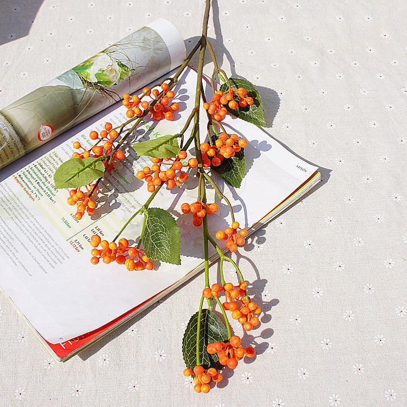Luxo Longo Ramo De Baga Flores Artificiais Com Folhas Plantas Falsas Cereja Fruta Diy Casa Jardim Decoração Plantas Artificiales
