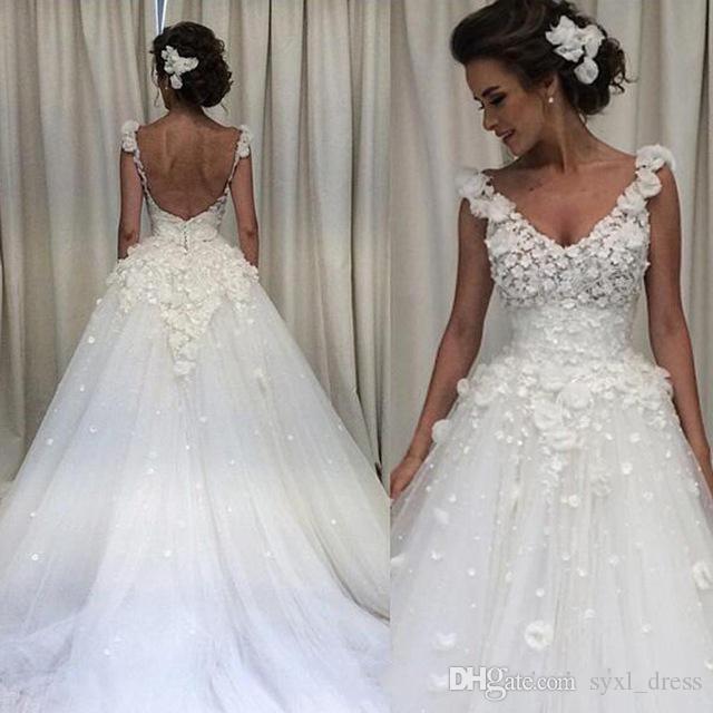 2019 Saudi Arabisch Plus Size Country Style Spitze Muslim A-Line Brautkleider Brautkleider Robes de Soirée Hand Made Flower Custom Made
