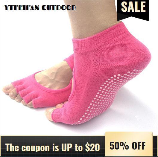 Yoga calcetines pies descalzos ciclo de la mujer del calcetín Ejecución de deporte de la aptitud de Pilates Pesca monopatín de artículos de camping Calcetines