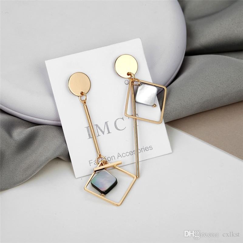 Pendiente de moda Decoración estilo de Corea de moda geométrica cuelga los pendientes para las mujeres de color oro acrílico linda niñas del oído