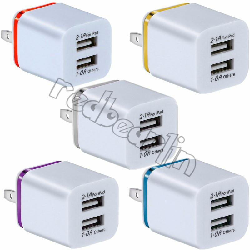 Dual USB carregador de parede Para Iphone 7 8 x Samsung S9 S10 S8 2 carregador de parede USB 5V 2.1A 1A metal Adaptador de viagem US plugue UE AC Power Adapter