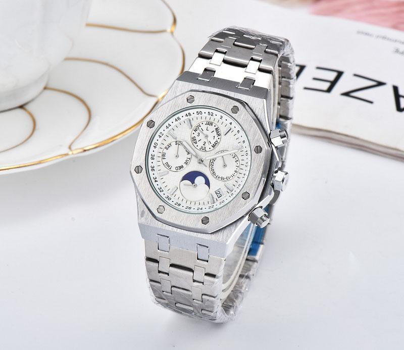 BRW luxo relógios de marca de moda casual masculina quart aço mancha relógio de pulso relógios homens do cronógrafo Relogio masculino