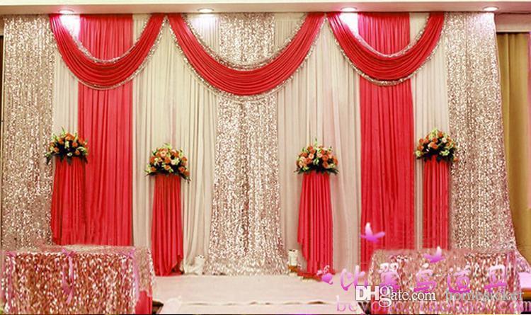Yüksek Kaliteli Düğün Backdrop Perde payetli Ucuz Düğün Süsleme 6m * 3m Kumaş Arkaplan Sahne Düğün Dekor Malzemeleri