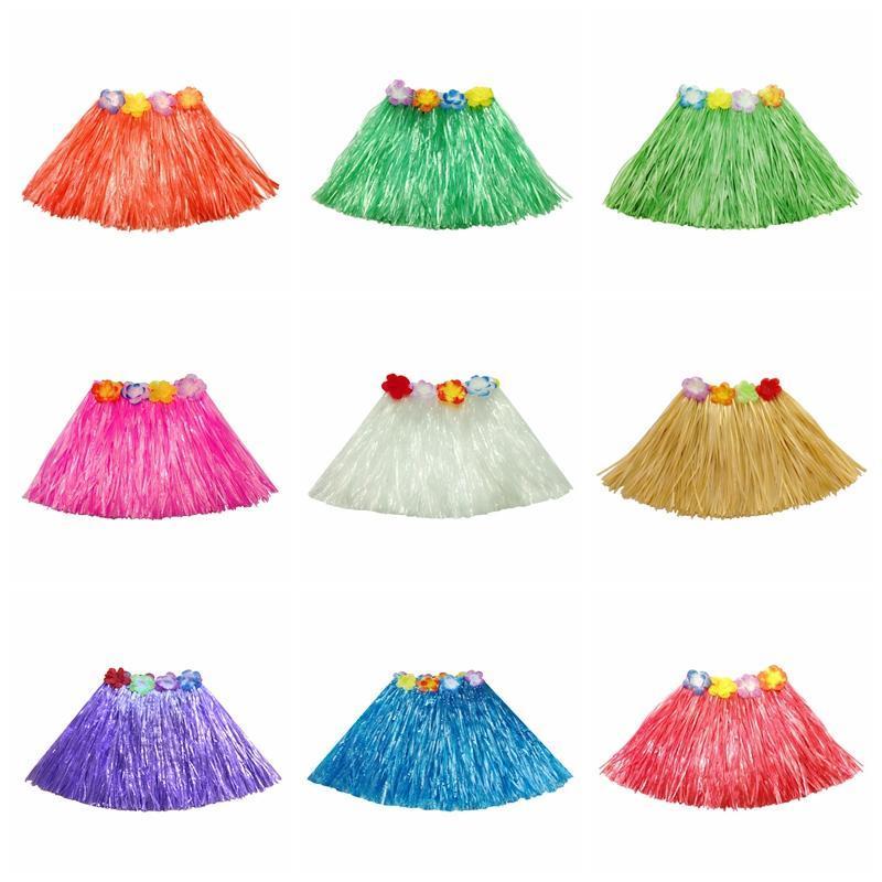 30 centimetri elastico erba hawaiano hula ballerino gonna hawaiana Erba Gonne per i bambini Tropical Grass Skirt singolo strato rifornimenti festivi del partito