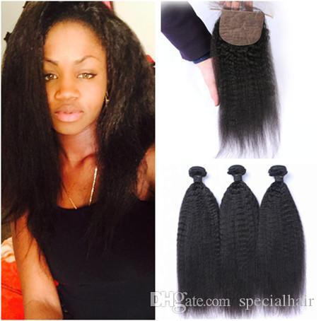 Kinky Straight Brazilian Virgin Human Hair Weaves with Silk Top Closure Italian Coarse yaki 4x4 Silk Base Closure with 3Bundles 4Pcs Lot
