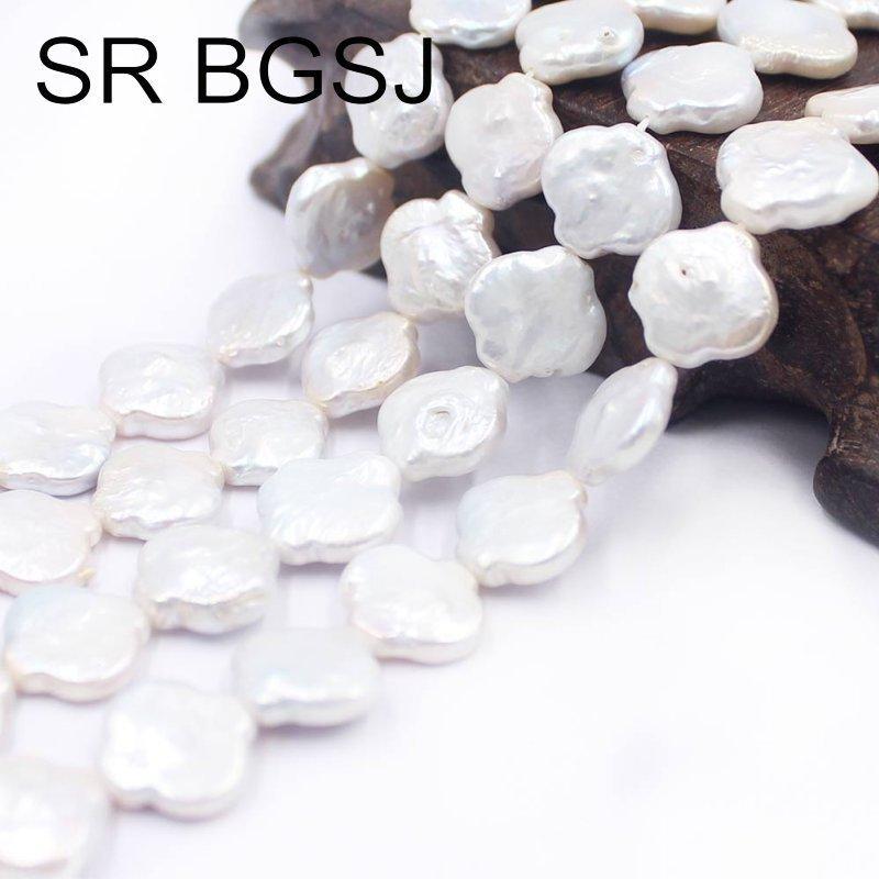 "Free Shipping SR 12x14mm Lantern Irregular Freeform Natural Freshwater White Pearl Jewelry Beads Strand 15"" T200507"