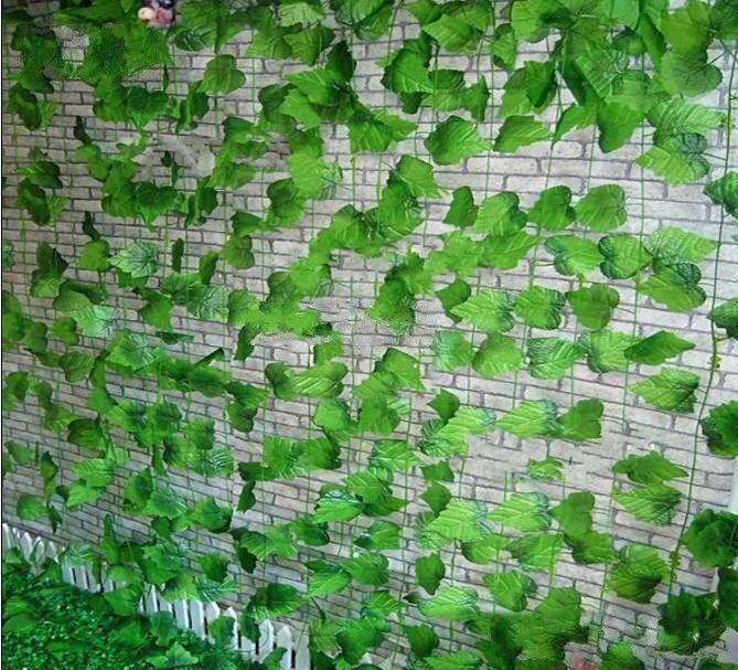 2.4M طويلة العنب الاصطناعي الحرير زهرة الورقة الخضراء الكرمة جارلاند المنزل والحديقة ديكور زفاف عيد ميلاد زينة الحزب الامدادات