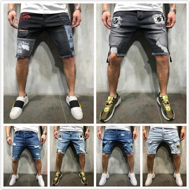 Hot Blue Jeans Denim Shorts Les nouveaux rippées et amincie FOWN Black Jeans Hommes Hip hop Vêtements mode et du sport de la personnalité masculine