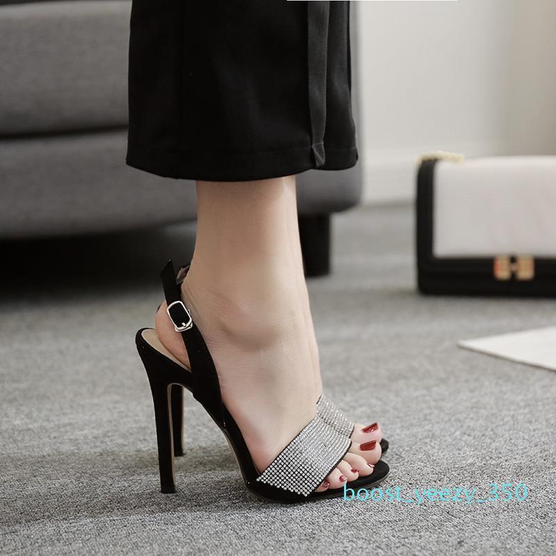 Fashion2019 Un Verano Estilo Uno Trae de lujo Rhinestone fino con sandalias Sí Do 40 b35