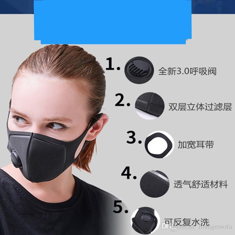 mouth Mask respirator with Breathing valve Face Masks respirators adult outdoor Keep warm 6 98mh UU
