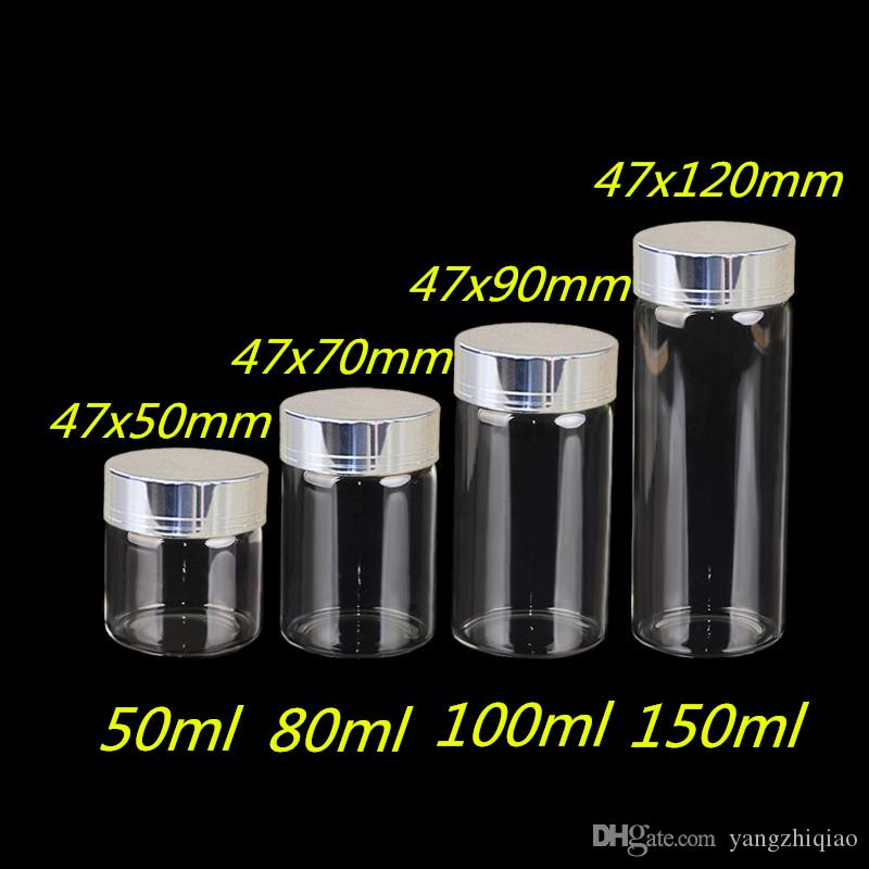 50ml 80ml 100ml 150ml Large Glass Bottles with Silver Gold Screw Caps Empty Spice Bottles Jars Gift Crafts Vials 24 pcs