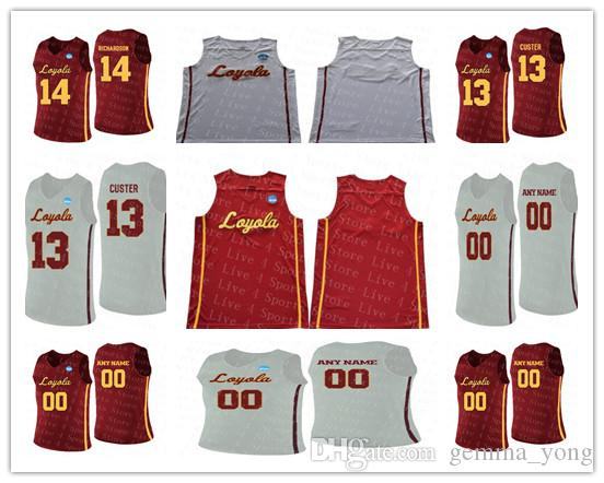 Custom College Basketball Loyola Chicago Ramblers 13 Clayton Custer 25 Cameron Krutwig Ingram Jackson Marques Red White Stitched NCAA Jersey
