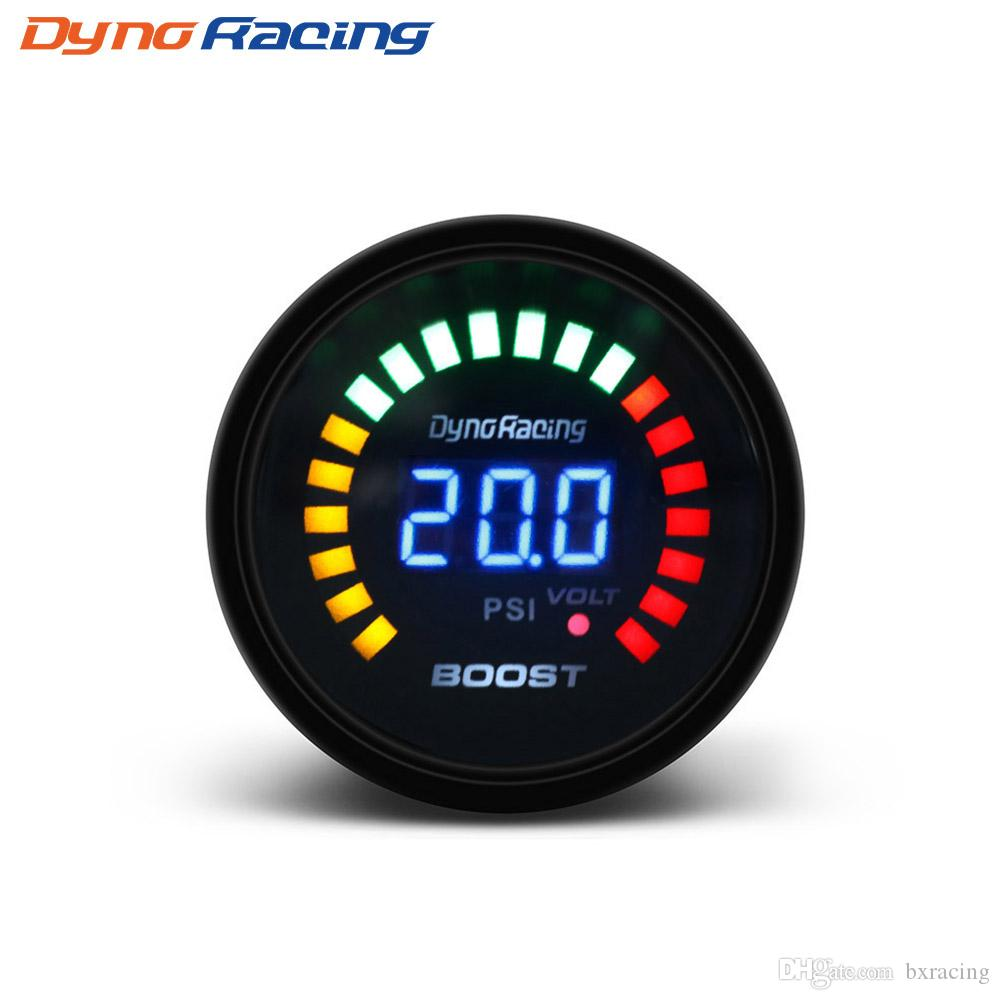 "Dynoracing 2"" 52mm 20 LED Blue Digital -15-45psi Turbo Boost Gauge Car Meter With Sensor BX101451"