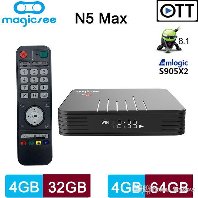 4GB 32GB TV Box Android 9.0 Amlogic S905X2 Quad Core Bluetooth 2.4 G/5.8 G Dual Band Wifi 1000M Magicsee N5 Max Android9. 0 TVbox
