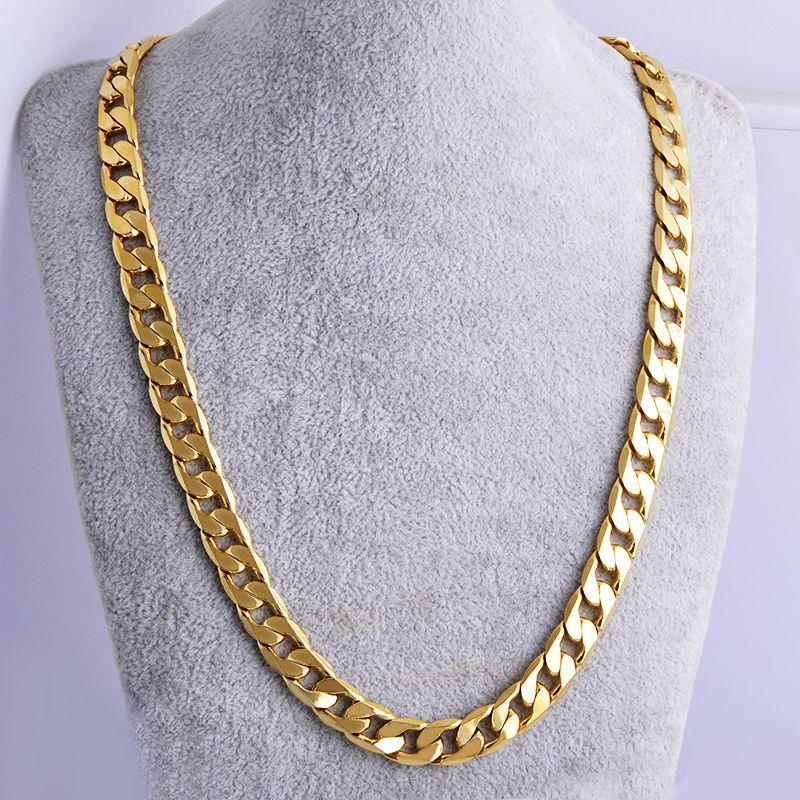 Shellhard الهيب هوب الرجال قلادة سلاسل الأزياء الصلبة لون الذهب معبأ كبح الكوبي طويل قلادة diy سلسلة سحر للجنسين المجوهرات