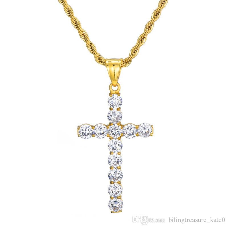 Zircon Cross Necklace Mens gold cross necklaces for men Cross Pendant Hip Hop Gold Plated Jewelry Rhinestone jewelry