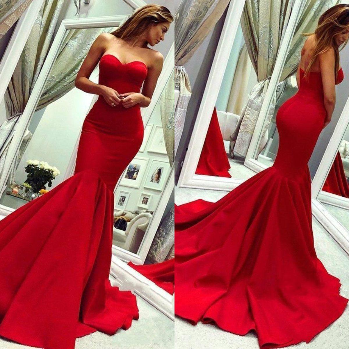 2020 rouge robes de bal sweetheart élégante sirène robes de soirée occasion balayage train dos nu ruché satin célébrité tenue de soirée