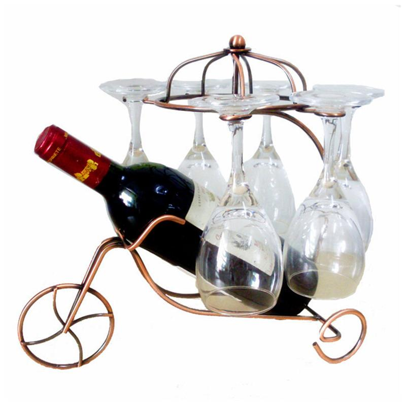 Creative Delicate Red Wine Bottle Glasses Holder Hanging Upside Down Cup Goblets Display Rack Fashion Metal Home Bar Wine Holder