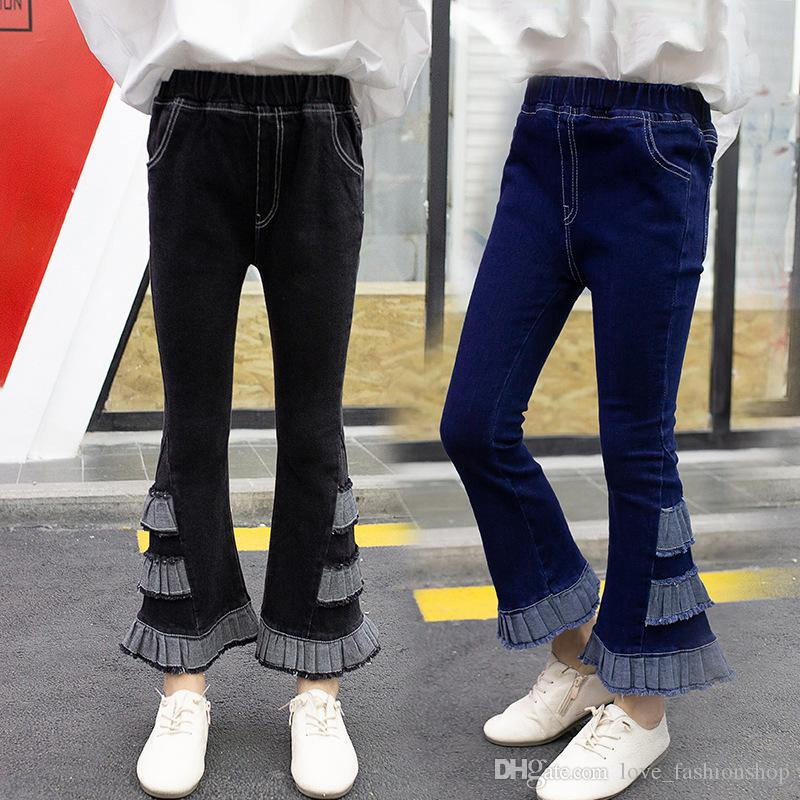 Perakende Kızlar Koreli dar kot flare çok katmanlı Denim Tayt Tayt Çocuk Tasarımcı ter pantolon Giyim Moda Çocuk giyim; pantolon