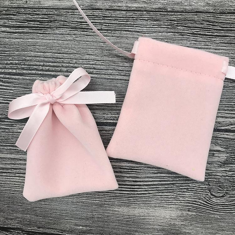 Rosa flanella Bundle Pocke monili del velluto Borsa sveglia dolce Imballaggio braccialetto della collana di trucco Bead Bag con coulisse