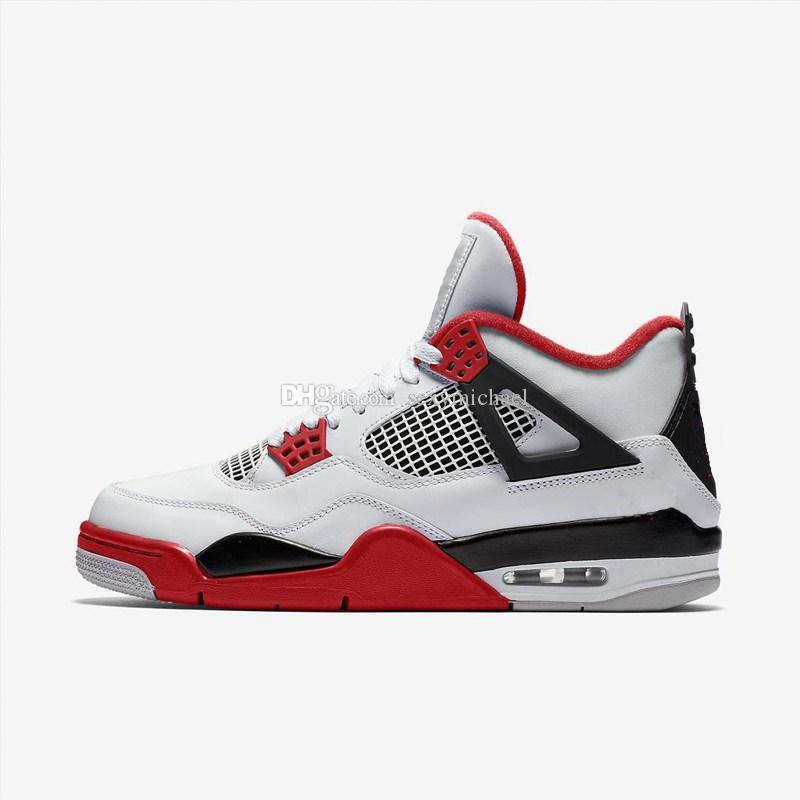 4 Fire Red white sneaker rosso Nuovo 2019 rilasciato TOP Factory Version di alta qualità 4s Scarpe da basket da uomo sneakers in pelle con box