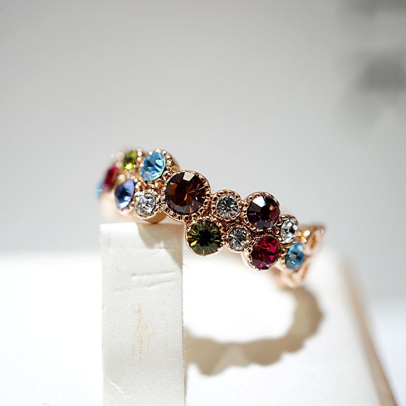 Charm Femme Petite Pierre Ronde Anneau Unique Style de fiançailles en or rose bague vintage anneaux de mariage coloré pour les femmes