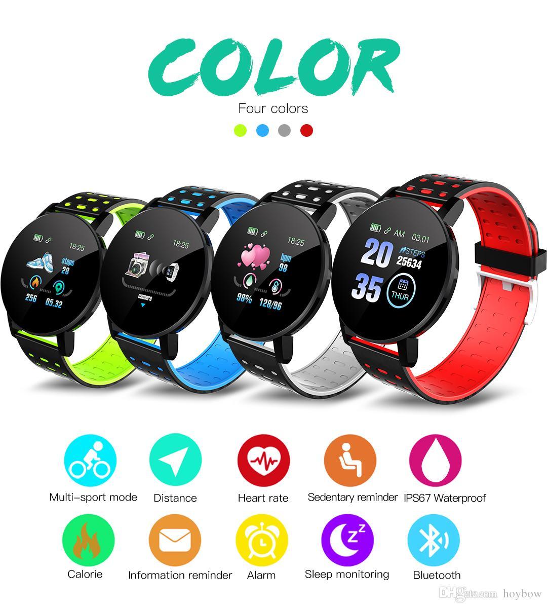 Novo 119 mais relógio inteligente Pressão arterial Rodada Bluetooth Smartwatch Smartwatch Mulheres impermeáveis Esportes Rastreador para Android iOS