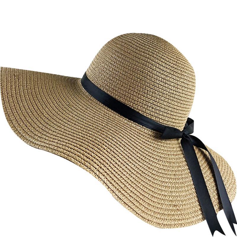 semplice pieghevole Ampia Brim Floppy ragazze della paglia Sun Beach estate delle donne Cappello UV Proteggere Viaggi Lady Cap femminile Y200602