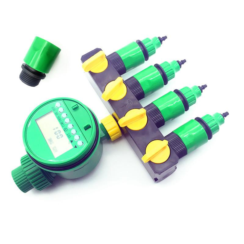 1 set (7 pcs) Home Garden irrigation Drip timer Pipe Splitter 4 Way Tap Connectors Quick Connector 3/4 Screw thread interface Y200106