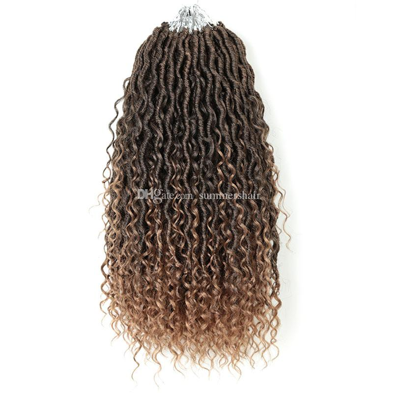River Locs Goddess Faux Locs Curly Crochet Braids For Black Or White Women Locs 24 Stands/Pack Synthetic Braiding Hair Extension