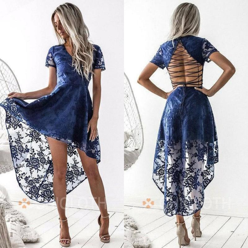 2020 Short Graduation Cocktail Dresses V Neck A Line Hi Lo Lace Applique Custom Made Prom Gowns Homecoming Dress Fall BC3467