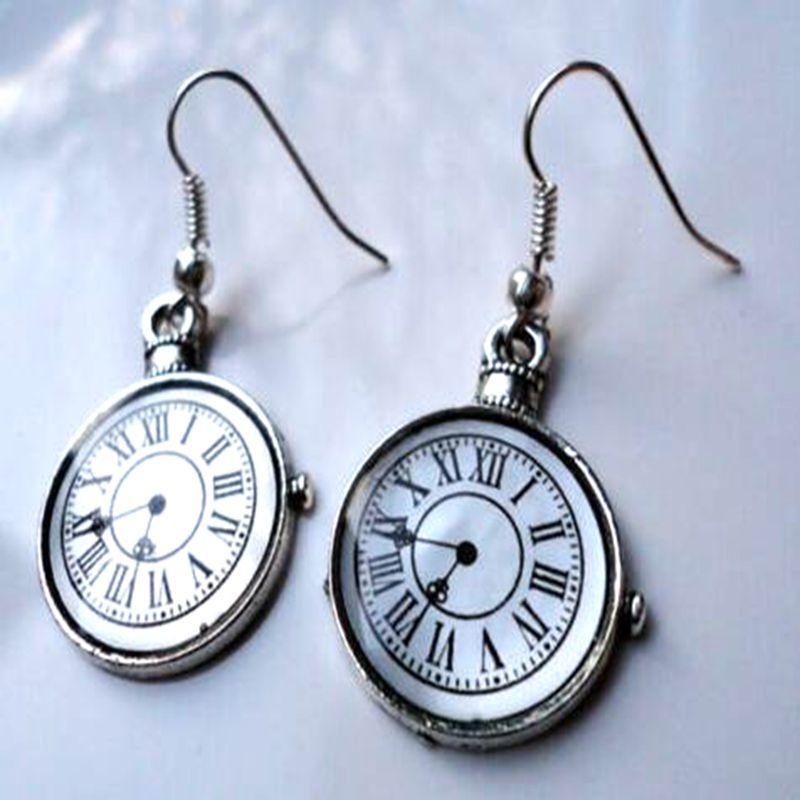 New Fashion Statement Enamel Pocket Watch Earrings For Women Steampunk Alice Dangle Earrings Theme Clock Chandelier Drop Earing Jewelry Gift
