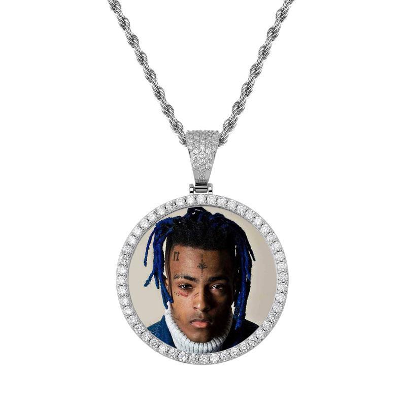 Circón de lujo de oro de 18 quilates chapado en rodio Hombres de Hip Hop diseñador de las mujeres Tamaño Collares gran círculo con foto personalizada collares pendientes