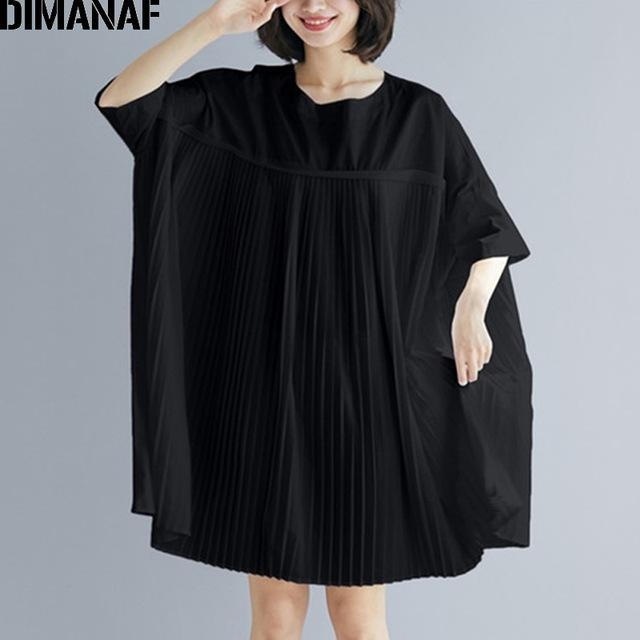 omen's Clothing Blouses & Shirts DIMANAF Plus Size Women Tops Tunic Big Size Blouse Shirt Summer Lady Solid Spliced Pleated Loose Cas...
