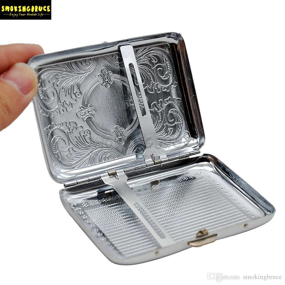 금속 담배 케이스 (69 * 95mm) 12 개의 정규 사이즈 담배 (85mm * 8mm) 담배 홀더 담배 홀더 2 클립 흡연 파이프가있는 담배 상자