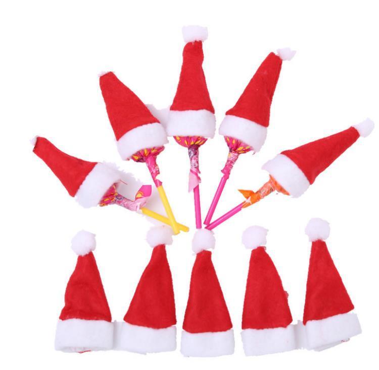 롤리팝 크리스마스 파티 휴일 사탕 최고 토퍼 와인 병 인형 장식 캡 식기 커버 선물 미니 산타 클로스 모자