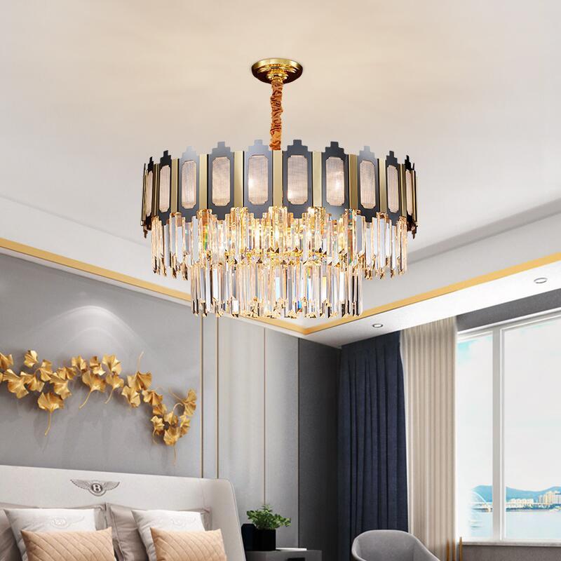 Retro LED kristal avize, modern salon dekorasyon lamba lüks tasarımcı aydınlatma