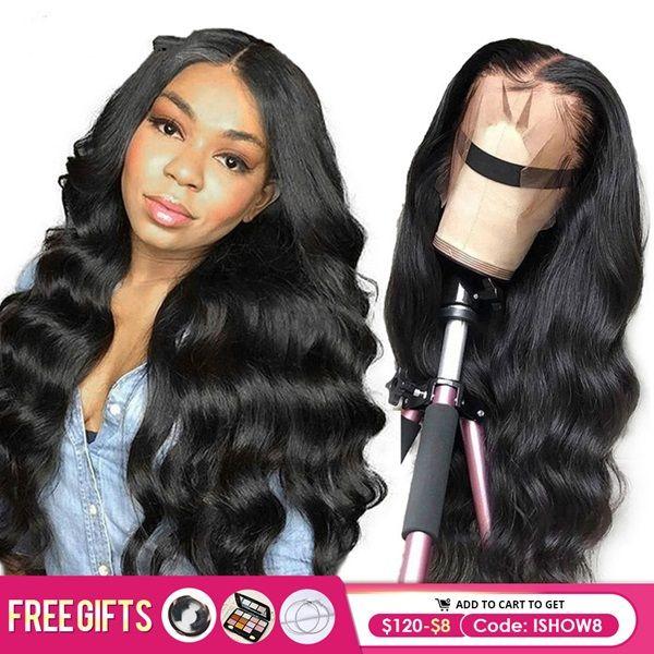 İshow Vücut Dalga Lacy Frontat İnsan Haire Wige 360 Lacb Frontal Wigh Öncesi Mızraplı 13x4 13x6 Dantel Açık Wigg Remy Brezilyalı Saç Peruk