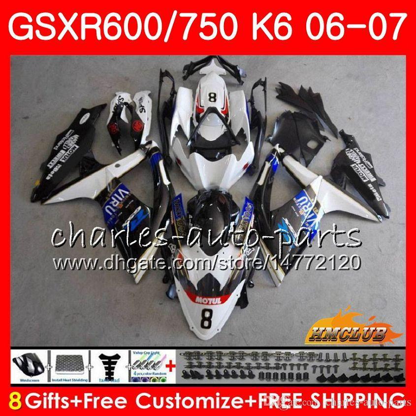 Body For SUZUKI GSX R600 GSX R750 GSXR600 2006 2007 8HC.79 GSX-R600 GSXR-750 K6 GSXR 600 750 06-07 white blue hot GSXR750 06 07 Fairing kit