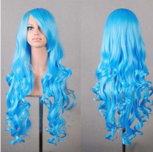 무료 배송 + + 패션 여성 로리타 긴 곱슬 라이트 블루 코스프레 파티 합성 애니메이션 가발