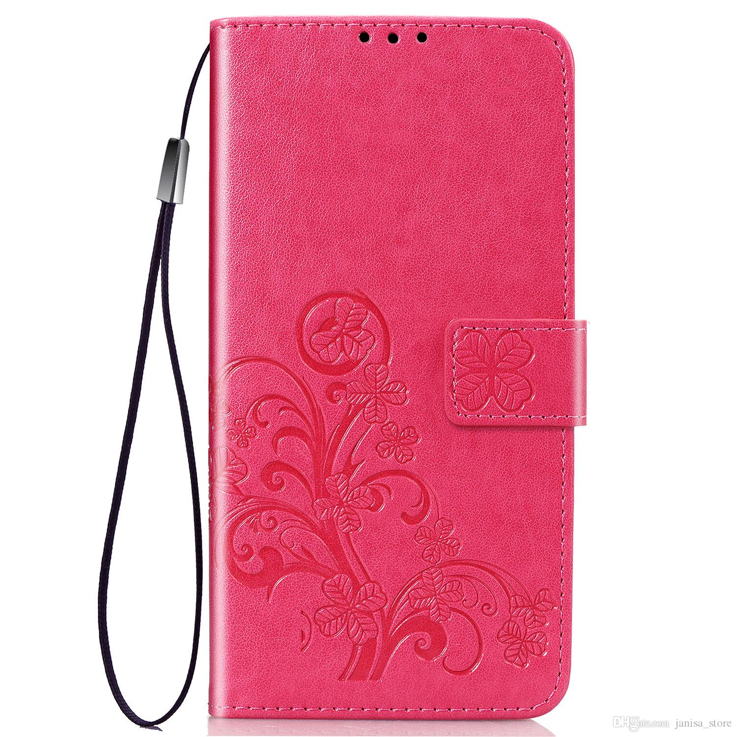 2019 high quality anti-fall anti-collision soft thin lucky four-leaf clover multi-function PU leather phone case for one plus one plus 7