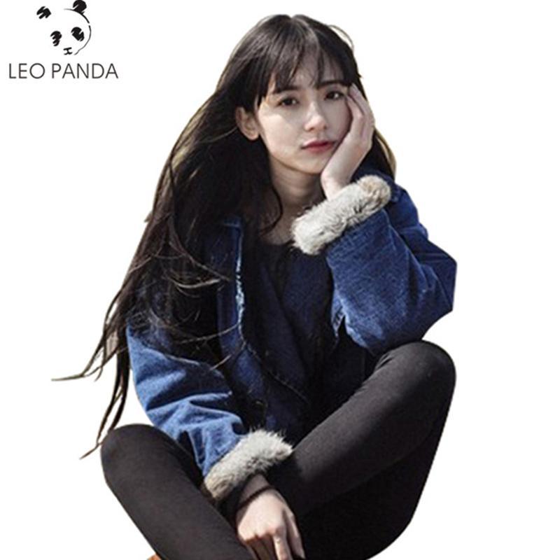 Abrigo de invierno de las nuevas mujeres de lana de cordero Jean tamaño grande mangas largas calientes Jeans Outwear espese el algodón rayado de la chaqueta del dril de CY