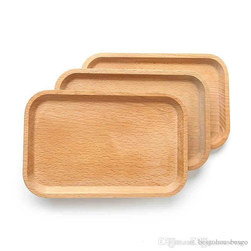 Square Fruits Platter Dish Wooden Plate Dish Dessert Biscuits Plate Dish Tea Server Tray Wood Cup Holder Bowl Pad Tableware Tray BC BH1574