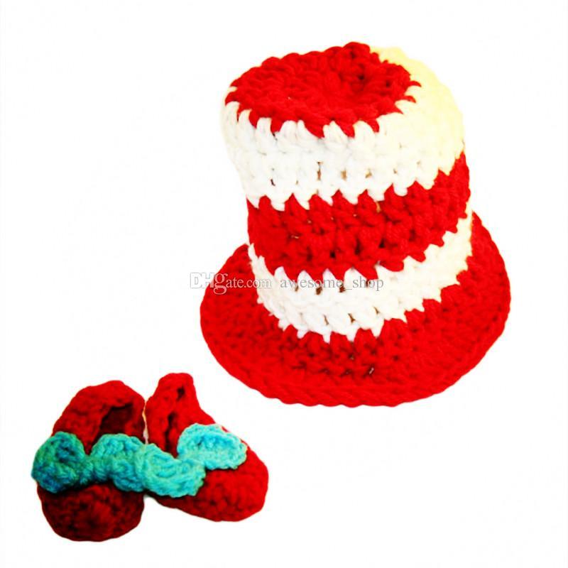 Yenidoğan Tophat Kıyafetler, El Yapımı Örgü Tığ Erkek Bebek Kız Çizgili Üst Şapka ve Ayakkabı Set, cadılar bayramı Kostüm, bebek Yürüyor Fotoğraf Prop