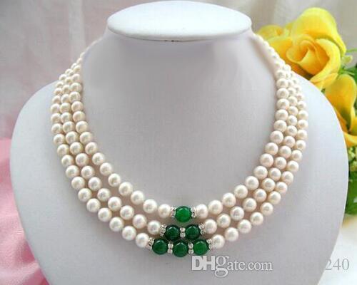 Новый дизайн моды популярная мода 3 ряда 8 мм белого круглого жемчуга пресной воды, красивый 17 «ожерелье
