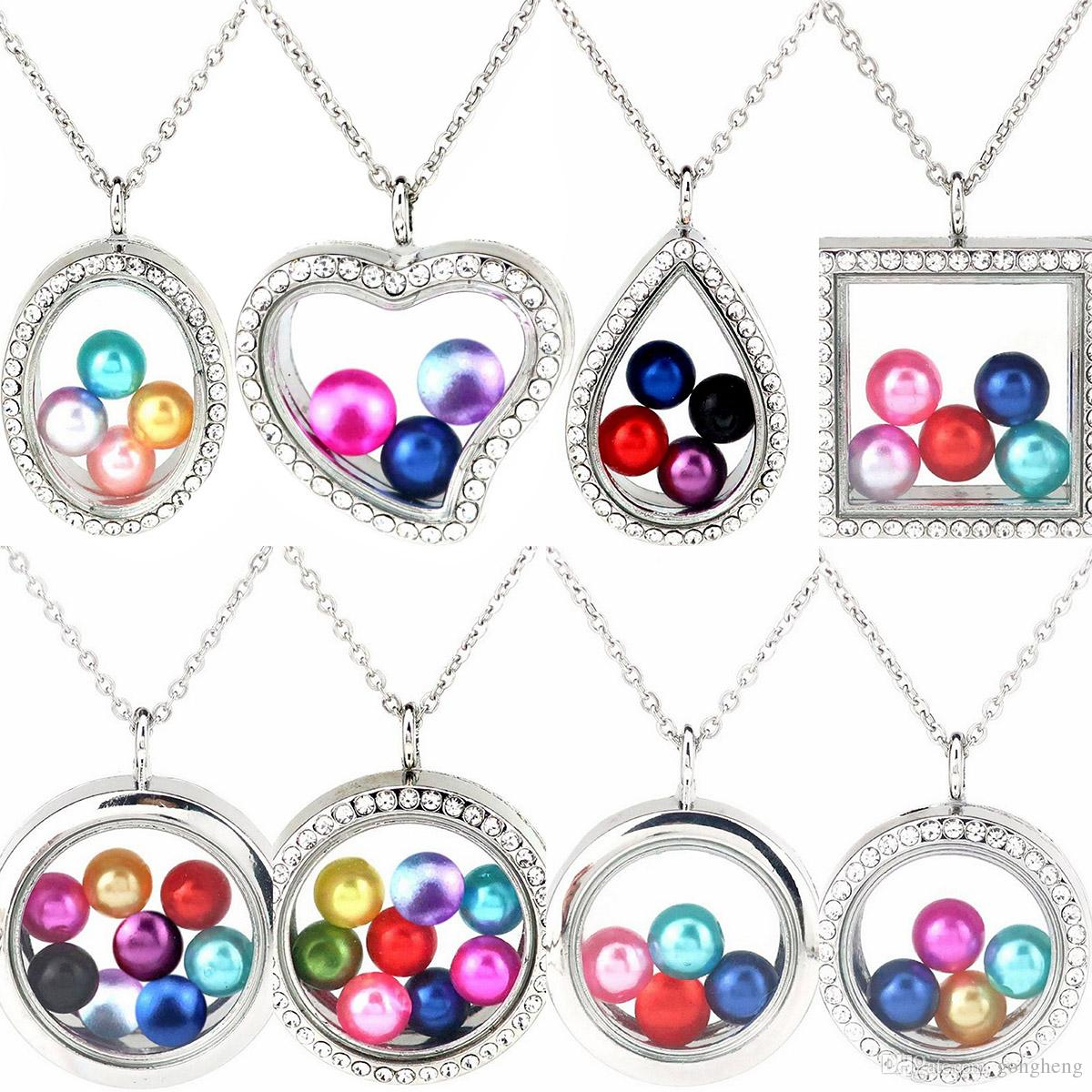 "More Style 8mm 10mm Pearl Beads Cage Silver Color Geometry Magnetic Glass Floating Locket Pendants Women Charms 20"" Necklace"