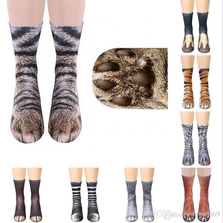 Stocks New 3D Imprimir Adulto animal da pata Meias Unisex Tripulação Cat longas elástica respirável cão Sock Cavalo Zebra Pig Cat Paw GB1477