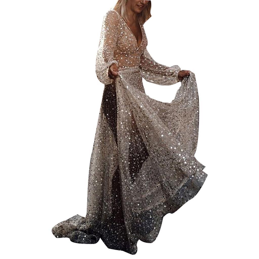 Frauen Kleider Sommer 2019 Frauen reizvolle Spitze Pailletten Langarm Rückseiten-Höhle mit V-Ausschnitt lange Partei-elegantes Kleid Vestidos Kostenloser Versand