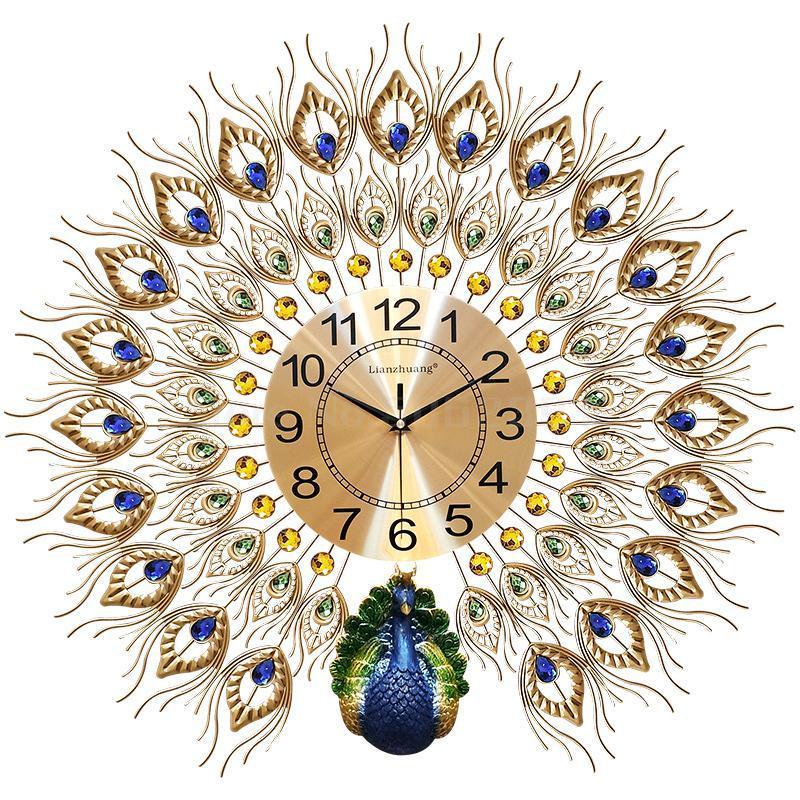 Watches Peacock Wall Clock Living Room Home Fashion Big Wall Watch Decoration Clock Creative Silent Quartz 20 Inch