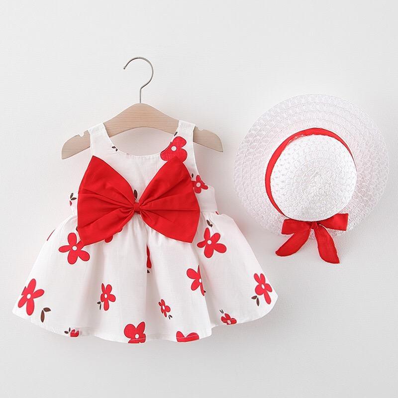 아기 드레스면 여자 아기 옷 꽃 소녀 복장으로 활 모자 의류 2 벌의 양복 공주 야외 비치 인쇄하기